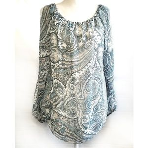 White House black market paisley cold shoulder top